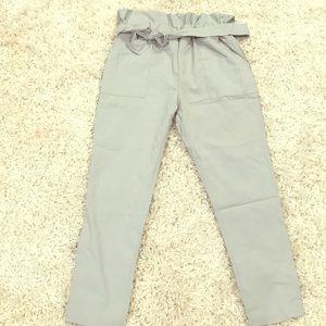 Grey paper bag waist pants with belt